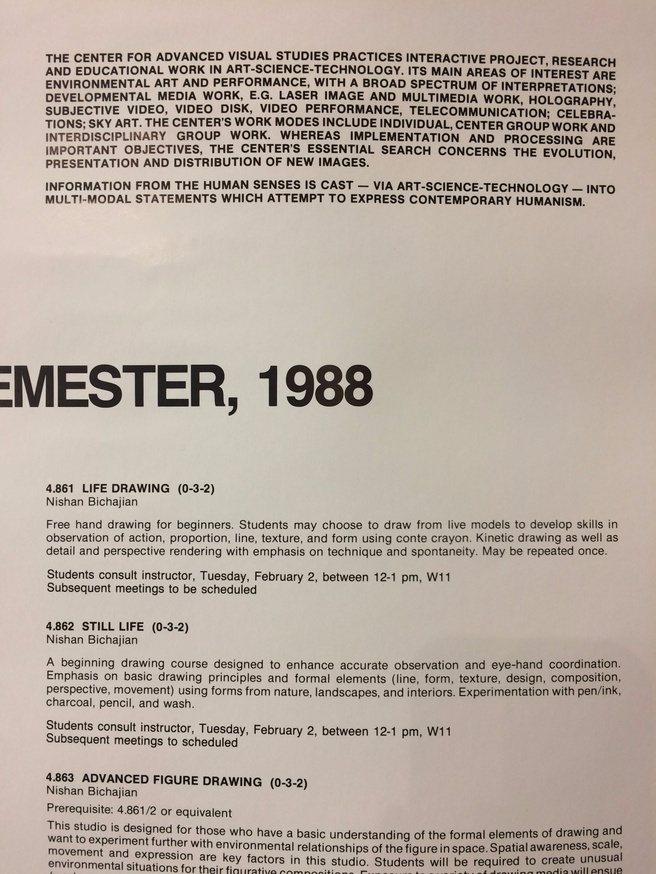 Center for Advanced Visual Studies : Subjects, Spring Semester, 1988 thumbnail 3
