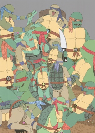Horny Turtles Ditch the Fish and Make the Switch Print