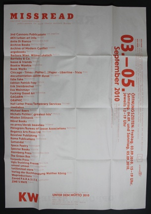 MISS READ : The 2010 Berlin Art Book Fair Poster