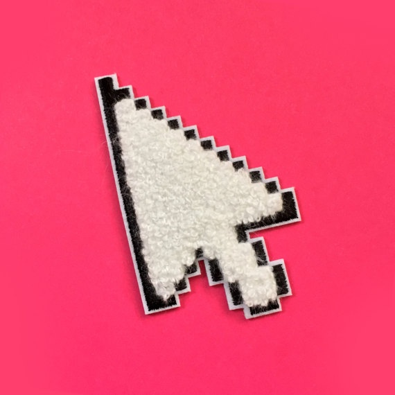 Fuzzy Chenille Mouse Pointer Iron-On Patch