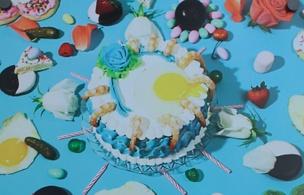 Egg Cake/Cocktail Spill Postcard