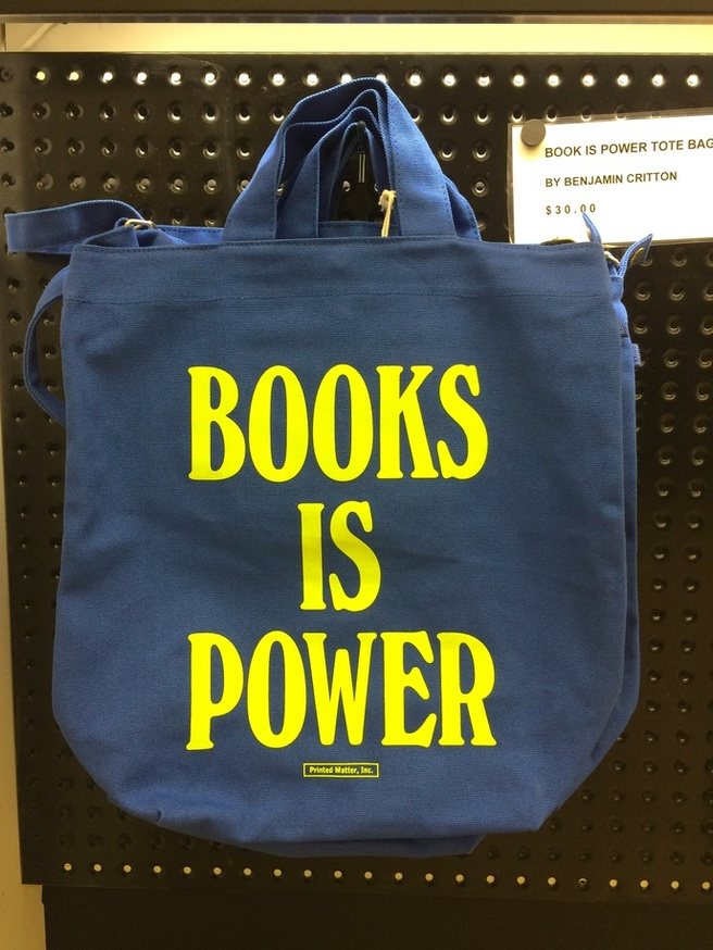 BOOKS IS POWER Tote [Blue & Chartreuse]