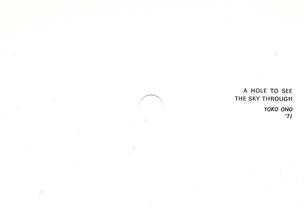 A Hole to See Through, Yoko Ono '71 Postcard